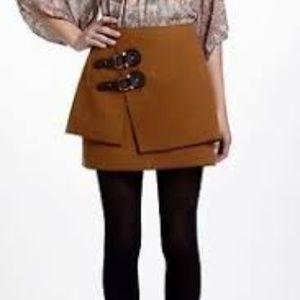 Anthropologie Meadow Rue Felt Buckle Mini Skirt 0